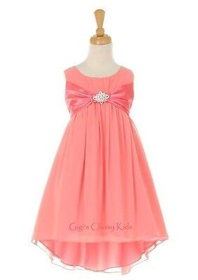 New Coral High-Low Chiffon Flower Girls Dress Easter Christmas Party  2055KK