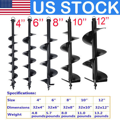 """US 4"""" 6"""" 8"""" 10"""" 12"""" Inch Earth Auger Bits Drill Bit For Post Hole Soil Digging"""