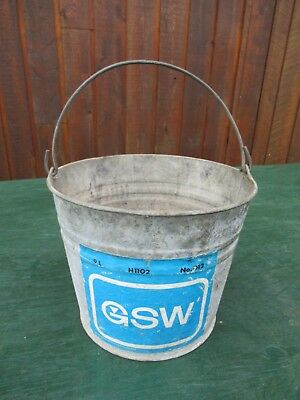 Vintage Metal Galvanized BUCKET PAIL with Handle and Original Paper Label