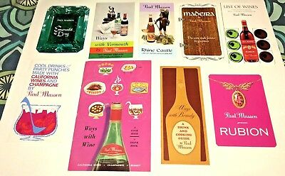 Lot of 9 vintage Paul Masson cocktail books 1960's drink recipes