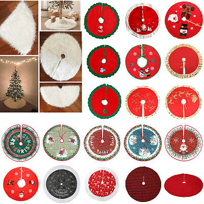 Christmas Tree Skirt Soft Floor Mat Cover Stands Apron Rug Xmas Party Home Decor