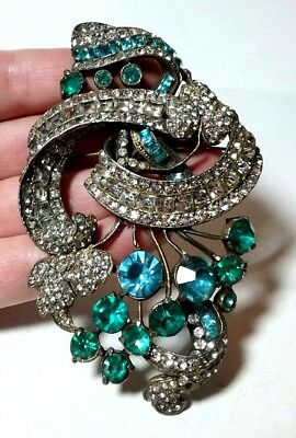 Vintage Huge Large Blue Clear Paste Rhinestone Antique Brooch Pin