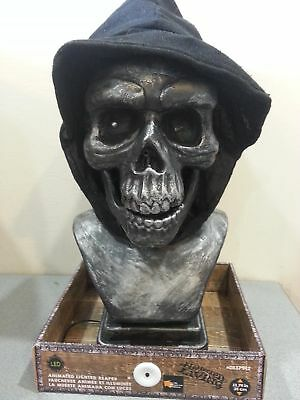 13 Inch Skeleton Reaper Light Up Animated Halloween Bust - Sound Activated