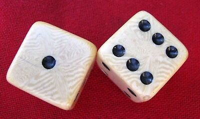 """Old Pair Of Large 7/8"""" Celluloid Dice"""