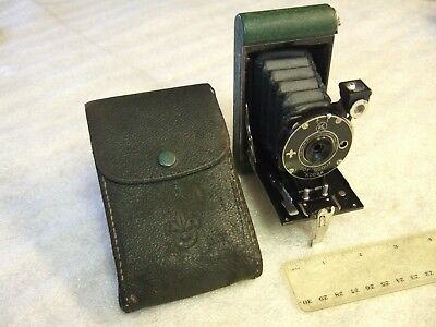 Rare Boy Scout Kodak Olive Green Folding Camera with Case Fine Cond