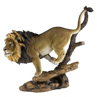 "Male Lion Running Figurine Statue 12"" Long Resin New In Box!"