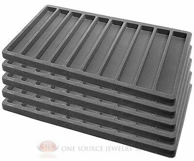 5 Gray Insert Tray Liners W/ 10 Slot Each Drawer Organizer Jewelry Displays