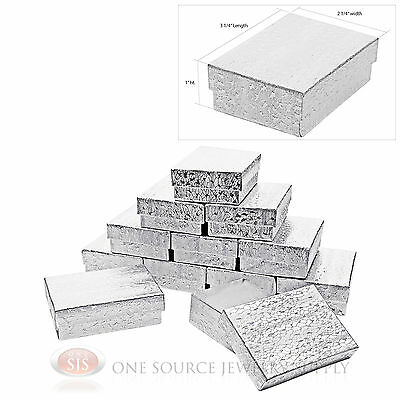 "12 Silver Foil Cotton Filled Jewelry Gift Boxes Pendant Charm Box 3 1/4"" x 2 1/4"