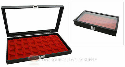 Glass Top Jewelry Organizer Display Case 32 Compartment Red Insert Travel
