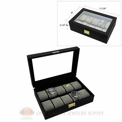 10 Watch Black Faux Leather Watch Case with Gray Velvet Lining Display Jewelry
