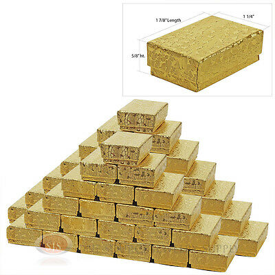 """50 Gold Foil Cotton Filled Jewelry Gift Boxes 1 7/8"""" x 1 1/4"""" x 5/8"""" Ring Charms"""