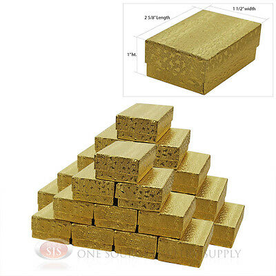 """25 Gold Foil Texture Cotton Filled Jewelry Gift Boxes 2 5/8"""" X 1 1/2"""" X 1"""" Ring"""