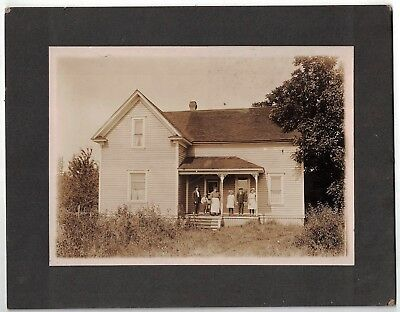 Antique 1910 Cabinet Photo Proud Family Poses On Porch Portland Or Astoria Or.