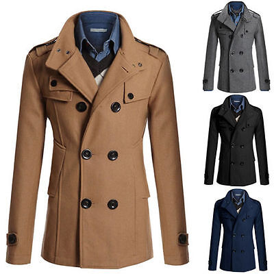 Men's Slim Fit Double Breasted Peacoat Jacket Winter Warm Trench Coat Outerwear