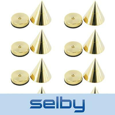 8 Pack 30mm Speaker Equipment Isolation Cone Spikes Gold with Height Adjustment