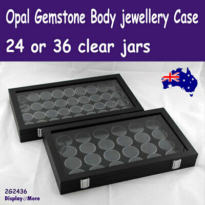 Gemstone Box OPAL Body Jewellery Case | GLASS Lid | 24/36 Gem Jars | AUS Stock