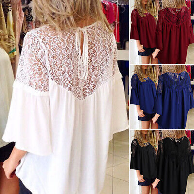 Women Flared Sleeve Casual Shirt Tops Lace Crochet Keyhole Loose Blouse Plus
