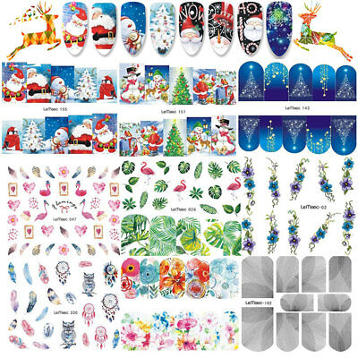 8Sheets Christmas Water Decals Nail Art Transfer Stickers Decorations Tips Set