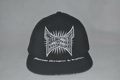 New Tapout Men's Black/White Baseball Hat Flat Bill Stretch Fit Cap L/XL 7 3/8-8