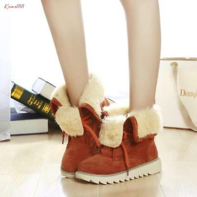 korean Womens fur lined lace up high top rivet round toe casual snow Ankle Boots