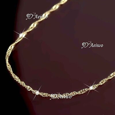 AEIWO 18K ROSE GOLD PLATED SINGAPORE TWIST CHAIN NECKLACE 48cm