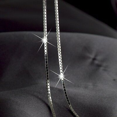 18K White Gold Plated Box Chain Necklace 60Cm Long Fashion Jewelry Accessary