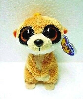 a137b886a85 Ty Beanie Boo REBEL MEERKAT Clip Rare   Retired w Purple Tag MINT w Mint  Tags