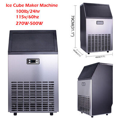 Commercial Ice Cube Maker Machine Restaurant Bar Stainless Steel Undercounter
