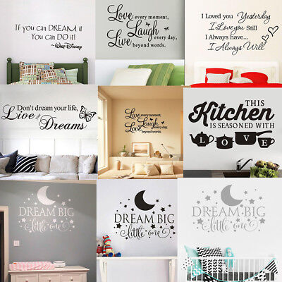 Home Wall Decal Word Vinyl Removable Sticker Quote Inspiration Art Bedroom Decor