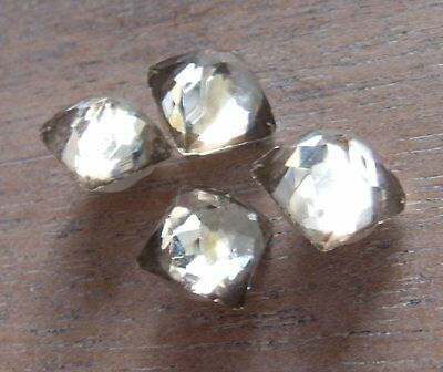 Vintage Antique 1930s-40s Faceted Pointy Top Crystal Rare 2 Part Buttons - 4