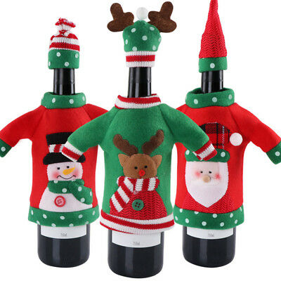 Christmas Xmas Elk Unisex Sweater Red Wine Bags Office Products Bottle Cover