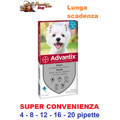Advantix Bayer 4-10kg antiparassitario per cane 4- 8- 12- 16- 20 pipette