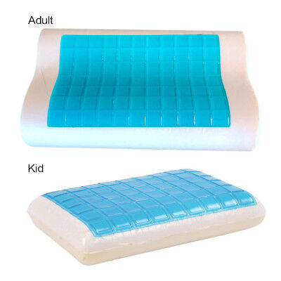 Memory Foam Pillow w/ Cooling Gel ~Orthopedic Bed Pillow FLAT(Kid)CONTOUR(Adult)