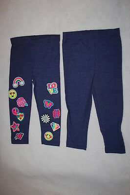 9b8230d94ae519 Toddler Girls 2 PAIR LEGGINGS LOT Dark Blue Heathered RAINBOW ROSE EMOJI  Size 3T