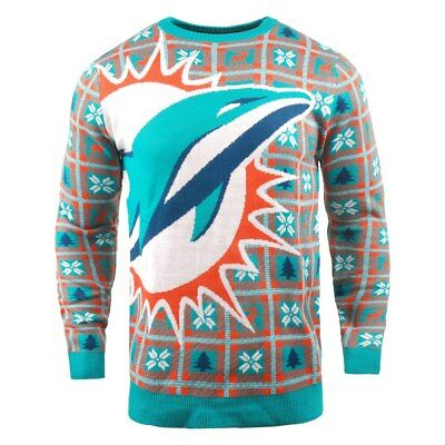 74891580 NFL UGLY SWEATER Miami Dolphins Pullover Christmas Big Logo Style Football  18