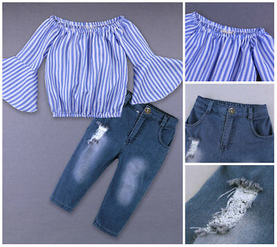1 set Kids Baby toddler girls casual Outfits stripe Tops&jeans sweet Clothes Set