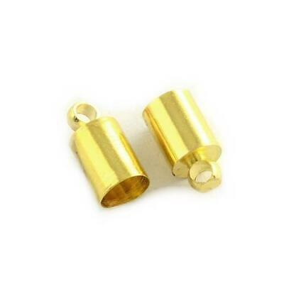 Packet 20 x Golden Plated Brass Barrel End Caps 8 x 12mm HA07575