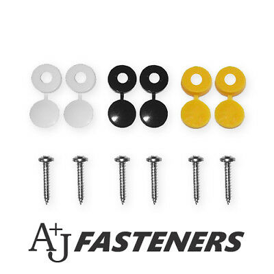 12 Piece - Number Plate Fixing Kit Car License Black Yellow White & Screws