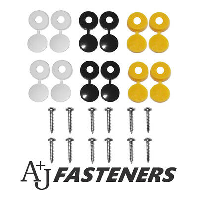 24 Piece - Number Plate Fixing Kit Car License Black Yellow White & Screws
