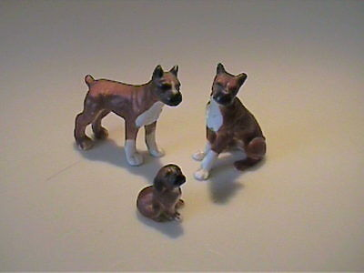Vintage 1960's Miniature Bone China Family Of Boxer Dogs