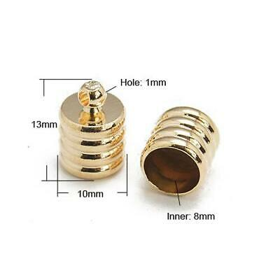 Packet 10 x Rose Gold Plated Brass Ribbed Barrel End Caps 10 x 13mm HA07590