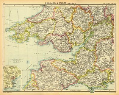 SOUTH WALES & SOUTH WEST ENGLAND.Bristol Channel Severn Estuary.Cardiff 1924 map