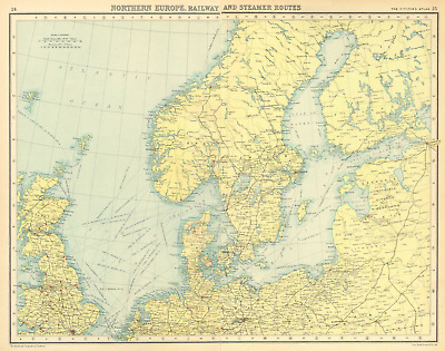 NORTHERN EUROPE. Railway and Steamer Routes. BARTHOLOMEW 1924 old vintage map
