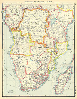 CENTRAL AND SOUTH AFRICA.Belgian Congo Tangyanika Territory Rhodesia &c 1924 map