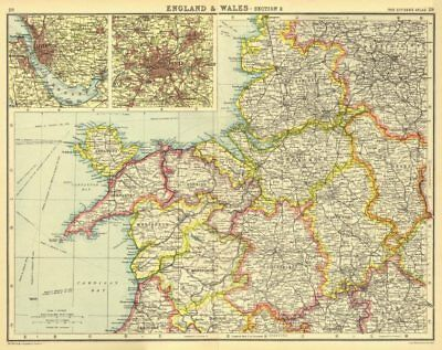 NORTH WEST ENGLAND & NORTH WALES. inset Liverpool & Manchester 1924 old map