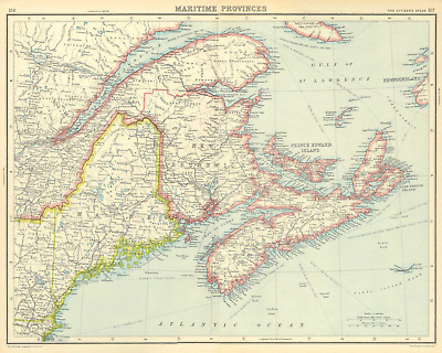 CANADA.Maritime Provinces.New Brunswick Nova Scotia Maine.BARTHOLOMEW 1924 map