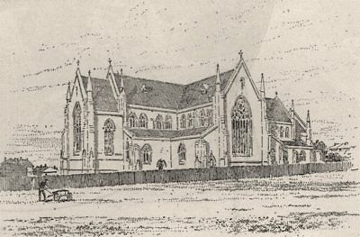 Anglican Cathedral, Goulburn. Australia 1890 old antique vintage print picture