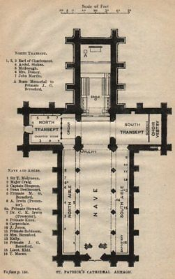 ARMAGH. St. Patrick's Cathedral plan. Ulster. Ireland. STANFORD 1908 old map