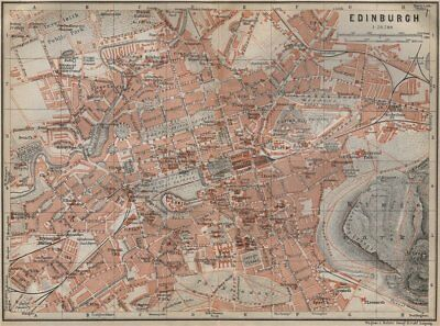 EDINBURGH antique town city centre plan. Scotland. BAEDEKER 1910 old map