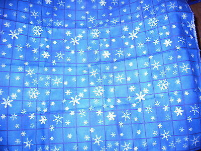 """""dark Blue Grid With Snowflakes"""" -  Fabric Piece"